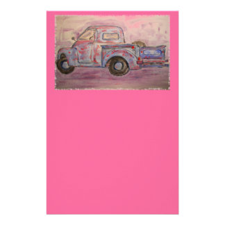 antique blue patina truck personalized stationery
