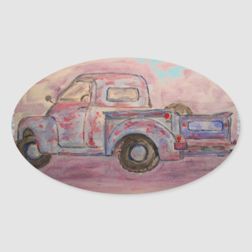 antique blue patina truck oval stickers