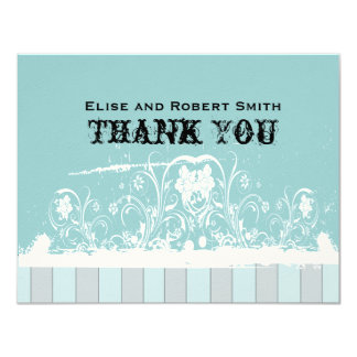 Antique Blue Personalized Thank You Notes Card