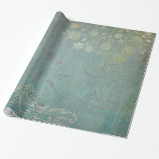 Antique Blue Vintage Garden Wrapping Paper