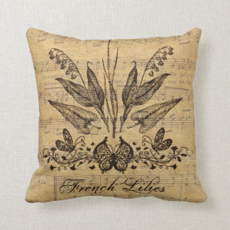 Antique Botanical French Lillies Throw Cushions