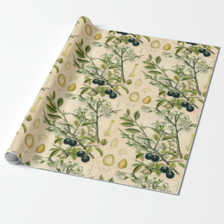 Antique Botanical Print Blackthorn Floral Drawing Wrapping Paper