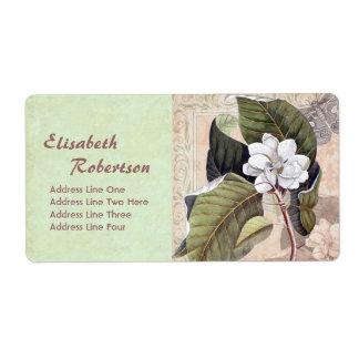 Antique Botanical Print Magnolia Collage Shipping Label