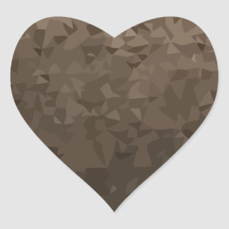 Antique Brass Camo Abstract Low Polygon Background Heart Sticker