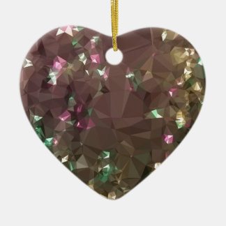 Antique Bronze Abstract Low Polygon Background Ceramic Heart Decoration