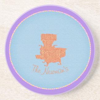 Antique-Bronze-Monogram-Wood-Cook-Stove-Blue-Lav Coaster