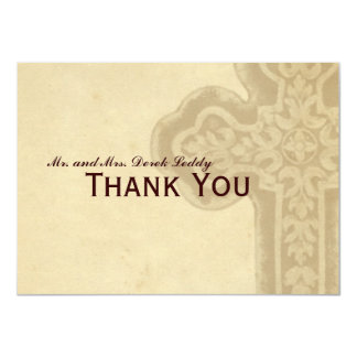 Antique Brown Celtic Cross Thank You Card