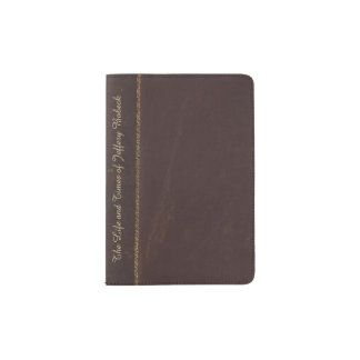 Antique Brown Leather Book Look Passport Wallet Passport Holder