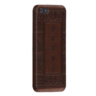 Antique Brown Leather Embossed Book Design Case For iPhone 5