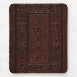 Antique Brown Leather Embossed Book Design Mouse Pad
