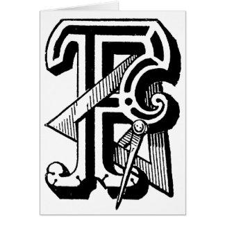 Antique Calligraphy Masonic Symbols Letter F Card