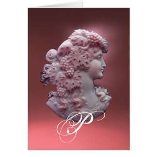 ANTIQUE CAMEO,LADY WITH GRAPES MONOGRAM CARD