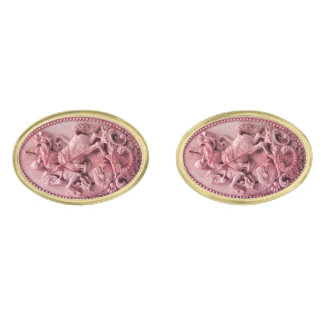 ANTIQUE CAMEO / SAINT GEORGE AND DRAGON GOLD FINISH CUFFLINKS