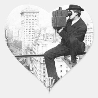 antique camera on a city highrise vintage photo sticker