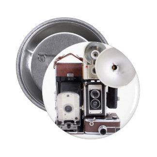 Antique cameras 6 cm round badge