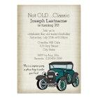 Antique Car and Burlap Vintage Birthday Card