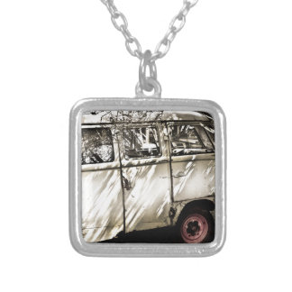 antique car silver plated necklace