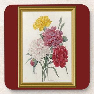 Antique Carnations In A Golden Frame Coaster