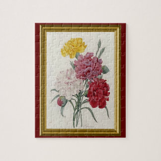 Antique Carnations In A Golden Frame Jigsaw Puzzle