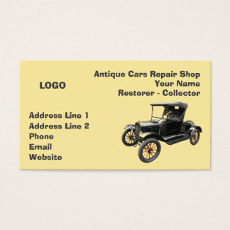 Antique Cars Repair Shop Collector 2 Business Card