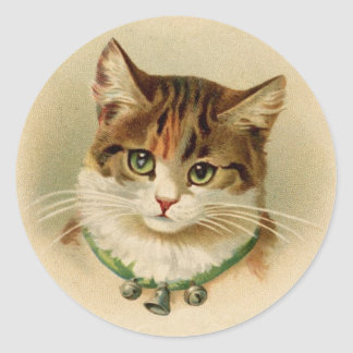 Antique Cat with Bells Stickers