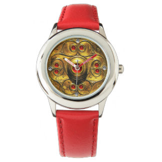 ANTIQUE CELTIC WARRIOR SHIELD WITH RUBY GEMSTONES WATCH