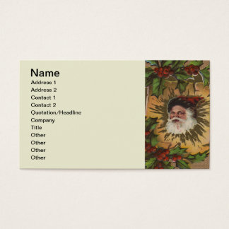 Antique Christmas Santa Claus Holly Vintage Business Card