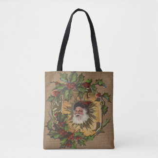 Antique Christmas Santa Claus Holly Vintage Tote Bag