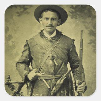 Antique Civil War Soldier Confederate Tintype Square Sticker
