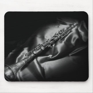 Antique clarinet still life, B&W Mouse Pad