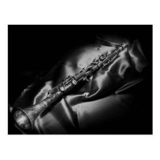 Antique clarinet still life, B&W Postcard