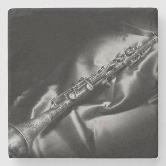 Antique clarinet still life, B&W Stone Coaster