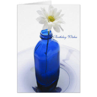 Antique Cobalt Bottle, Pretty Summer Daisy Blue Card