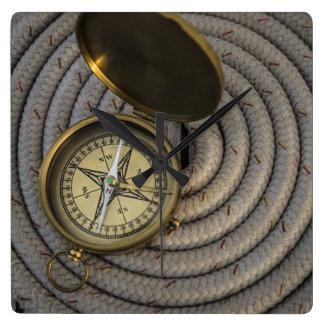 Antique Compass On Sailboat Deck Clock