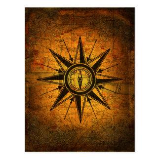 Antique Compass Rose Postcard