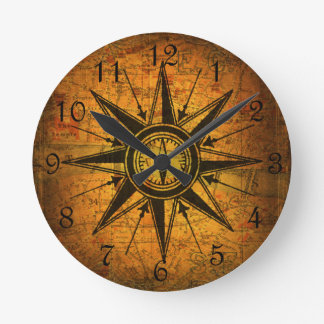 Antique Compass Rose Round Clock