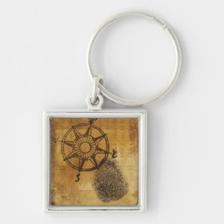 Antique compass rose with fingerprint Silver-Colored square key ring
