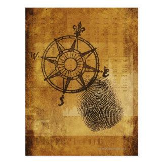 Antique compass rose with fingerprint postcard