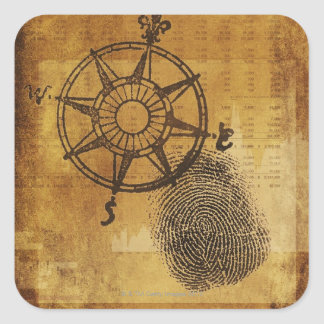 Antique compass rose with fingerprint square sticker