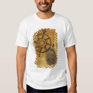 Antique compass rose with fingerprint t shirt