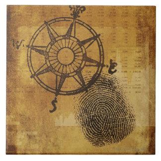 Antique compass rose with fingerprint large square tile