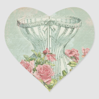 Antique Corset Vintage Rose Seals Heart Shaped Tag Heart Stickers