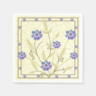 Antique Crackle-finish Cornflower and Wheat Paper Napkin