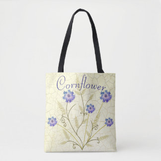 Antique Crackle Wheat and Cornflower Personalized Tote Bag