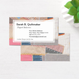 Antique Crazy Quilt for Quilter, Antique Dealer Business Card