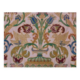 Antique Damask Fabric Postcard