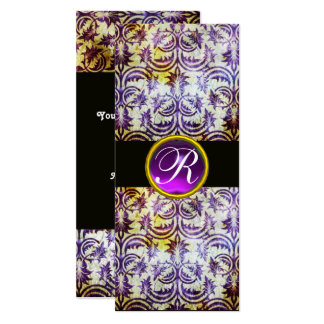 ANTIQUE DAMASK MONOGRAM,black white purple,silver 10 Cm X 24 Cm Invitation Card