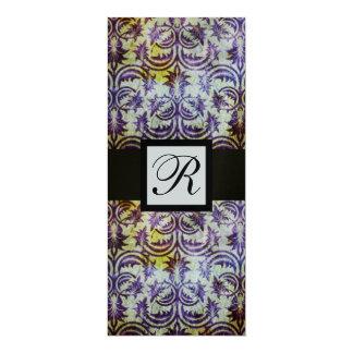 ANTIQUE DAMASK SQUARE MONOGRAM,black purple,silver 10 Cm X 24 Cm Invitation Card