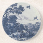 Antique Delft Blue Tile - Cattle and Birds Beverage Coaster