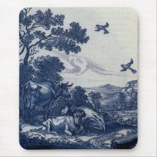 Antique Delft Blue Tile - Cattle and Birds Mouse Pad